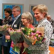 Auteur Ineke Grootegoed, Wim Molenkamp van de VU, Janny Eskes (2e) en Marian Noorthoek (3e)